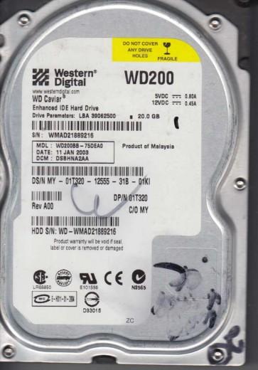 WD200BB-75DEA0, DCM DSBHNA2AA, Western Digital 20GB IDE 3.5 Hard Drive