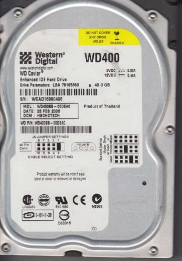 WD400BB-00DEA0, DCM HSCHCT2CH, Western Digital 40GB IDE 3.5 Hard Drive