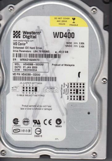 WD400BB-00DEA0, DCM HSCHNV2CA, Western Digital 40GB IDE 3.5 Hard Drive