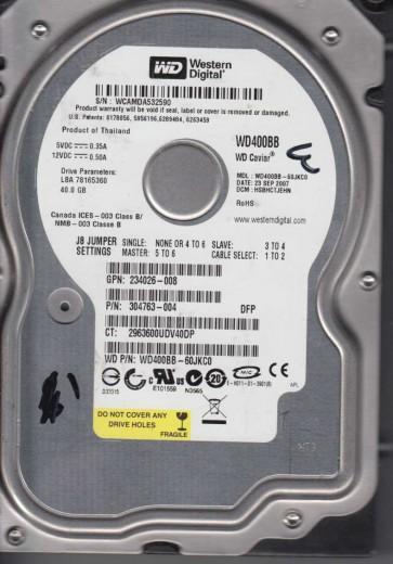 WD400BB-60JKC0, DCM HSBHCTJEHN, Western Digital 40GB IDE 3.5 Hard Drive