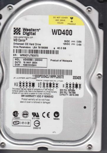WD400BB-23DEA0, DCM HSBHNV2AH, Western Digital 40GB IDE 3.5 Hard Drive
