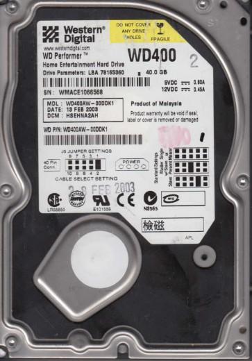 WD400AW-00DDK1, DCM HSEHNA2AH, Western Digital 40GB IDE 3.5 Hard Drive