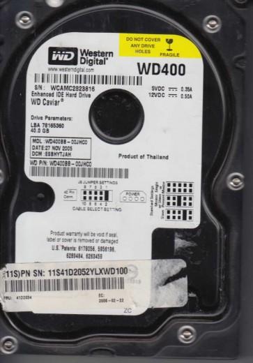 WD400BB-00JHC0, DCM ESBHYTJAH, Western Digital 40GB IDE 3.5 Hard Drive