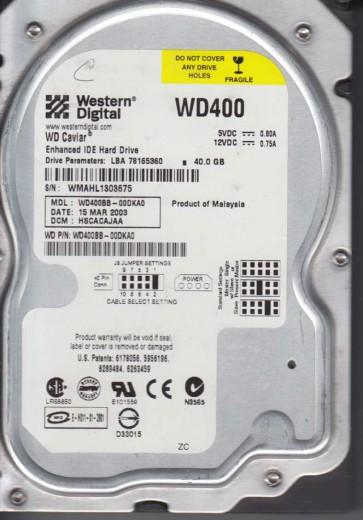 WD400BB-00DKA0, DCM HSCACAJAA, Western Digital 40GB IDE 3.5 Hard Drive