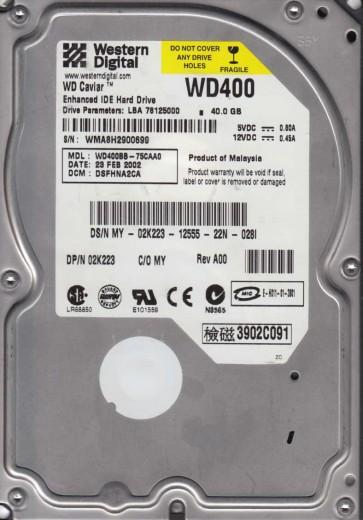 WD400BB-75CAA0, DCM HSFHNA2CA, Western Digital 40GB IDE 3.5 Hard Drive