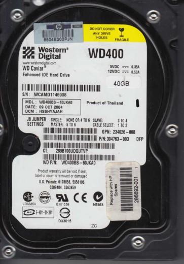 WD400BB-60JKA0, DCM HSBHYAJAH, Western Digital 40GB IDE 3.5 Hard Drive