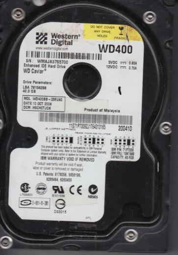 WD400BB-23FJA0, DCM HSCHCTJCH, Western Digital 40GB IDE 3.5 Hard Drive