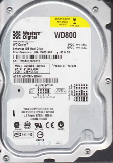 WD800BB-22DKA0, DCM DSBHCTJCA, Western Digital 80GB IDE 3.5 Hard Drive