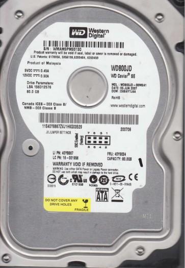 WD800JD-08MSA1, DCM DSBAYTJAA, Western Digital 80GB SATA 3.5 Hard Drive