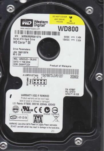 WD800JD-08LSA0, DCM DSBHYTJCH, Western Digital 80GB SATA 3.5 Hard Drive