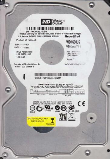WD1600JS-00NCB1, DCM HBBJNTJAC, Western Digital 160GB SATA 3.5 Hard Drive