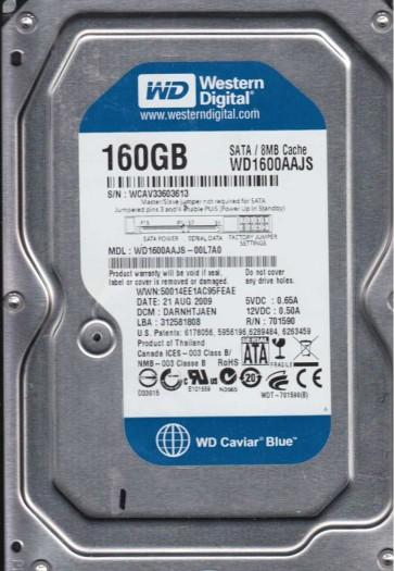 WD1600AAJS-00L7A0, DCM DARNHTJAEN, Western Digital 160GB SATA 3.5 Hard Drive