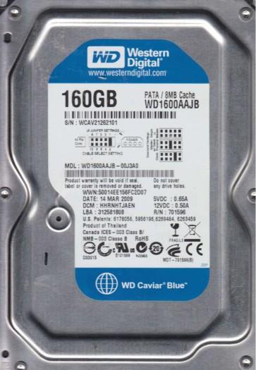 WD1600AAJB-00J3A0, DCM HHRNHTJAEN, Western Digital 160GB IDE 3.5 Hard Drive