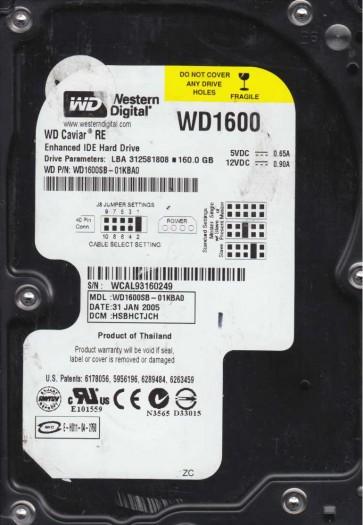 WD1600SB-01KBA0, DCM HSBHCTJCH, Western Digital 160GB IDE 3.5 Hard Drive