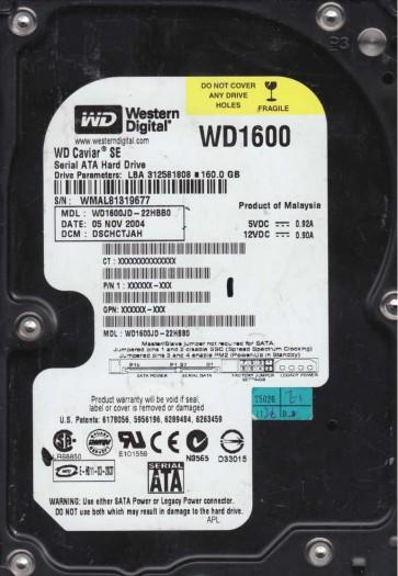 WD1600JD-22HBB0, DCM DSCHCTJAH, Western Digital 160GB SATA 3.5 Hard Drive