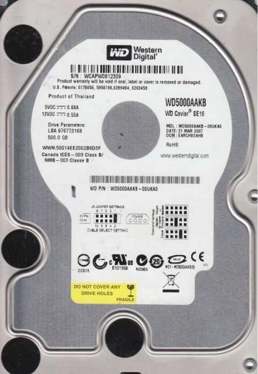 WD5000AAKB-00UKA0, DCM EARCHV2AHB, Western Digital 500GB IDE 3.5 Hard Drive