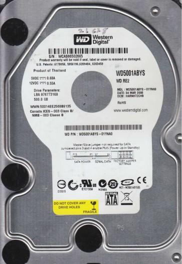 WD5001ABYS-01YNA0, DCM HARNHT2CHB, Western Digital 500GB SATA 3.5 Hard Drive