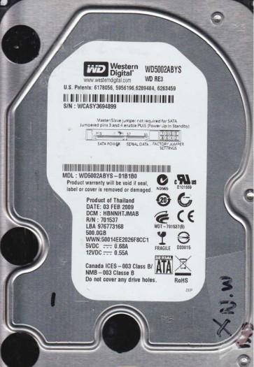 WD5002ABYS-01B1B0, DCM HBNNHTJMAB, Western Digital 500GB SATA 3.5 Hard Drive