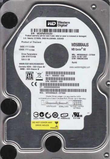 WD5000AAJS-22TKA0, DCM HBNCNV2AHB, Western Digital 500GB SATA 3.5 Hard Drive