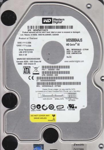WD5000AAJS-22TKA0, DCM HANCNV2CHB, Western Digital 500GB SATA 3.5 Hard Drive