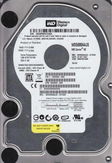 WD5000AAJS-22TKA0, DCM HBNCNV2ABB, Western Digital 500GB SATA 3.5 Hard Drive