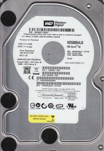 WD5000AAJS-22YFA0, DCM HBNCNT2MBN, Western Digital 500GB SATA 3.5 Hard Drive