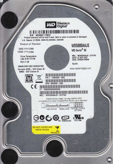 WD5000AAJS-22YFA0, DCM DHNVNT2MHN, Western Digital 500GB SATA 3.5 Hard Drive