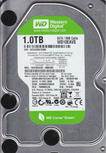 WD10EAVS-98M4B0, DCM HHNNHV2MAB, Western Digital 1TB SATA 3.5 Hard Drive