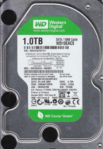 WD10EACS-00D6B1, DCM HBRNHT2MFB, Western Digital 1TB SATA 3.5 Hard Drive