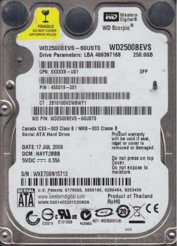 WD2500BEVS-60UST0, DCM HAYT2BBB, Western Digital 250GB SATA 2.5 Hard Drive