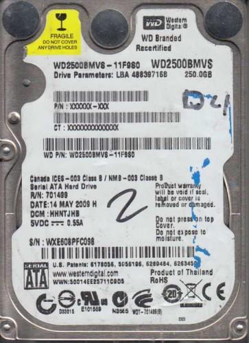 WD2500BMVS-11F9S0, DCM HANTJHB, Western Digital 250GB SATA 2.5 Hard Drive