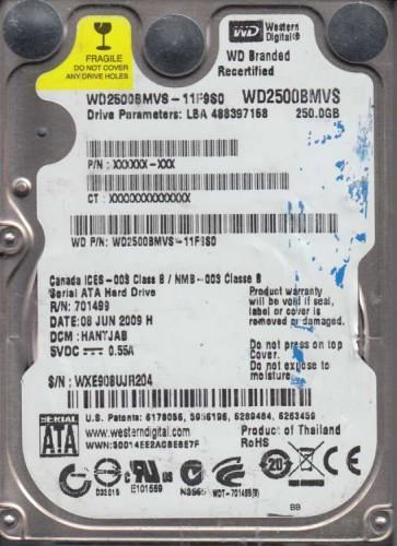 WD2500BMVS-11F9S0, DCM HANTJAB, Western Digital 250GB SATA 2.5 Hard Drive