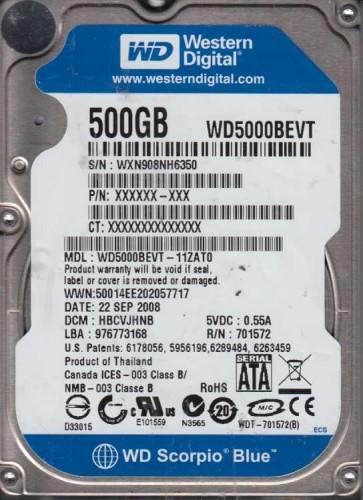 WD5000BEVT-11ZAT0, DCM HBCVJHNB, Western Digital 500GB SATA 2.5 Hard Drive