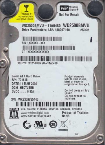 WD2500BMVU-11A04S0, DCM HBCTJBBB, Western Digital 250GB USB 2.5 Hard Drive