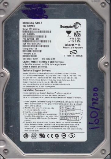 ST3160023A, 3LJ, AMK, PN 9W2084-311, FW 8.01, Seagate 160GB IDE 3.5 Hard Drive
