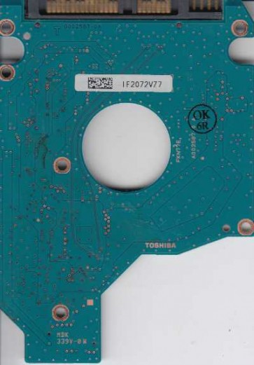 MK5056GSY, A0/LH003C, HDD2E61 F VL01 T, G002587-0A, Toshiba SATA 2.5 PCB