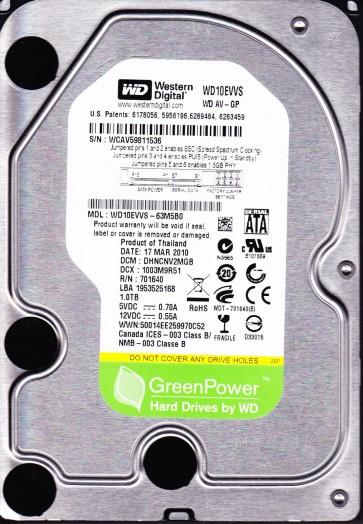 WD10EVVS-63M5B0, DCM DHNCNV2MGB, Western Digital 1TB SATA 3.5 Hard Drive