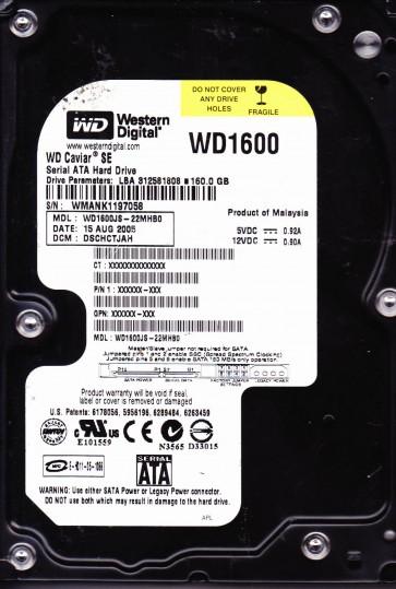 WD1600JS-22MHB0, DCM DSCHCTJAH, Western Digital 160GB SATA 3.5 Hard Drive