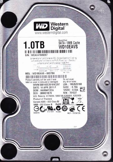 WD10EAVS-00D7B0, DCM HARNHT2CA, Western Digital 1TB SATA 3.5 Hard Drive