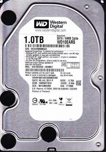 WD10EARS-003BB1, DCM HBRNHT2CH, Western Digital 1TB SATA 3.5 Hard Drive