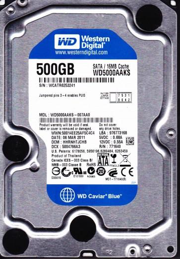 WD5000AAKS-007AA0, DCM HHRNHTJCHB, Western Digital 500GB SATA 3.5 Hard Drive