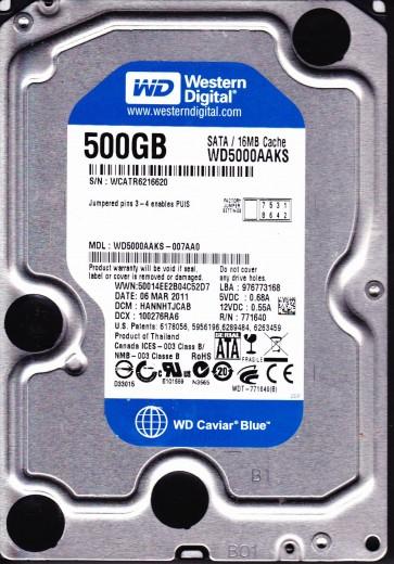 WD5000AAKS-007AA0, DCM HANNHTJCAB, Western Digital 500GB SATA 3.5 Hard Drive
