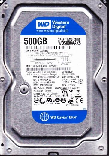 WD5000AAKS-00V6A0, DCM HHRNNTJCAN, Western Digital 500GB SATA 3.5 Hard Drive