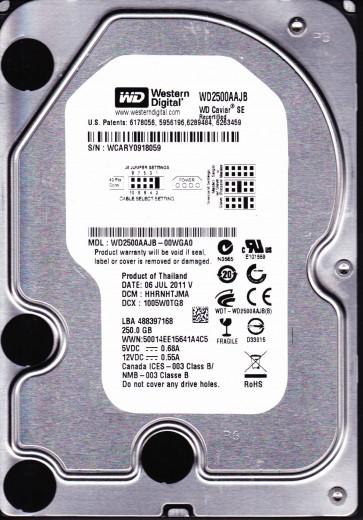 WD2500AAJB-00WGA0, DCM HHRNHTJMA, Western Digital 250GB IDE 3.5 Hard Drive