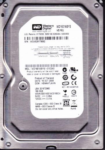 WD1601ABYS-01C0A0, DCM HBNNHTJAHN, Western Digital 160GB SATA 3.5 Hard Drive