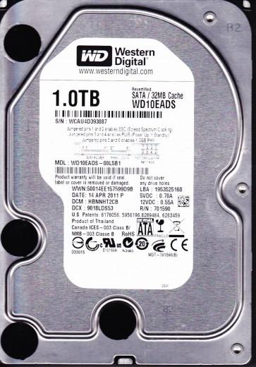 WD10EADS-00L5B1, DCM HBNNHT2CB, Western Digital 1TB SATA 3.5 Hard Drive