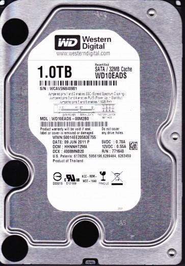 WD10EADS-00M2B0, DCM HHNNHT2MA, Western Digital 1TB SATA 3.5 Hard Drive