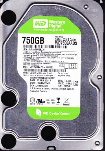 WD7500AADS-11M2B2, DCM HGNNNT2MH, Western Digital 750GB SATA 3.5 Hard Drive