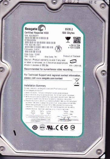 ST3500630SV, 9QG, TK, PN 9DC146-501, FW 3.ACH, Seagate 500GB SATA 3.5 Hard Drive