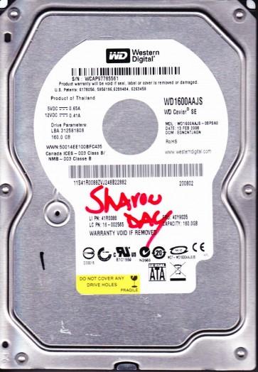 WD1600AAJS-08PSA0, DCM EGNCNTJAGN, Western Digital 160GB SATA 3.5 Hard Drive